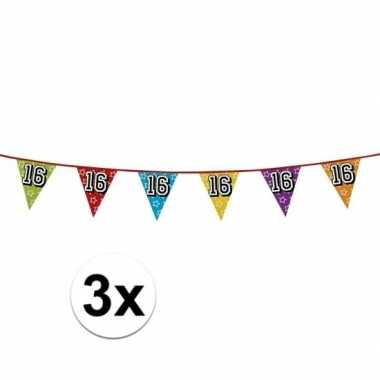 3x vlaggetjes 16 jaar feestje
