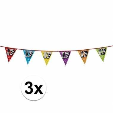 3x vlaggetjes 17 jaar feestje