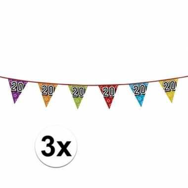 3x vlaggetjes 20 jaar feestje