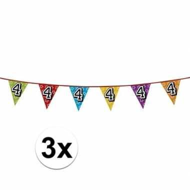 3x vlaggetjes 4 jaar feestje