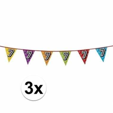 3x vlaggetjes 7 jaar feestje