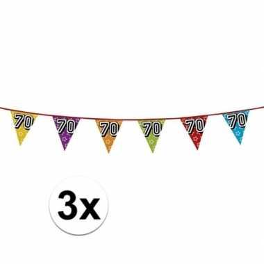 3x vlaggetjes 70 jaar feestje