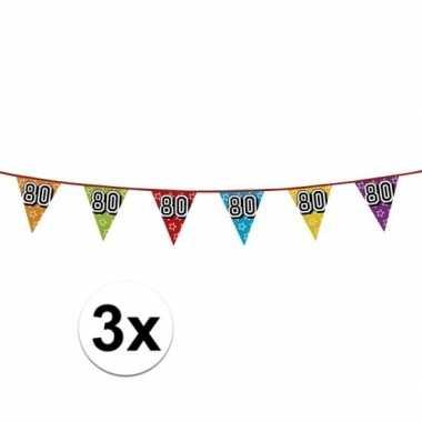 3x vlaggetjes 80 jaar feestje