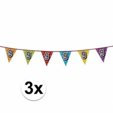 3x vlaggetjes 9 jaar feestje