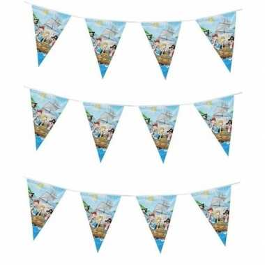 3x vlaggetjes slinger piraten blauw 3 m