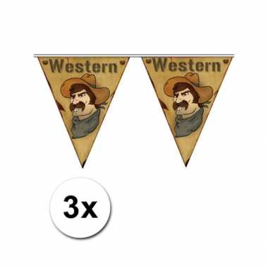 3x western thema vlaggenlijn western