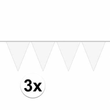 3x wit mini vlaggenlijn feestversiering