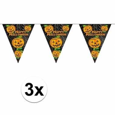 3x zwarte vlaggenlijnenen met pompoenen