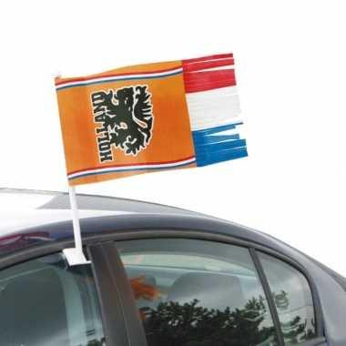 4x oranje holland autovlag voetbal supporter 30x35 cm