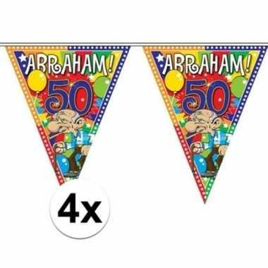 4x plastic abraham 50 jaar vlaggenlijnen