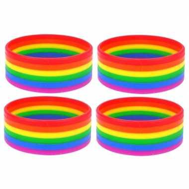 4x regenboogvlag kleuren armbandje 20 cm
