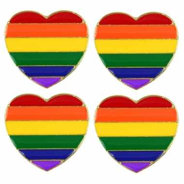 4x regenboogvlag kleuren metalen pin/broche hartje 3 cm