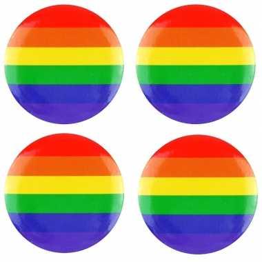 4x regenboogvlag kleuren tas broche 2 cm