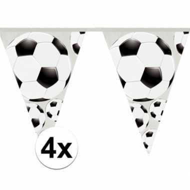 4x slingers voetbal vlaggen van 4 meter