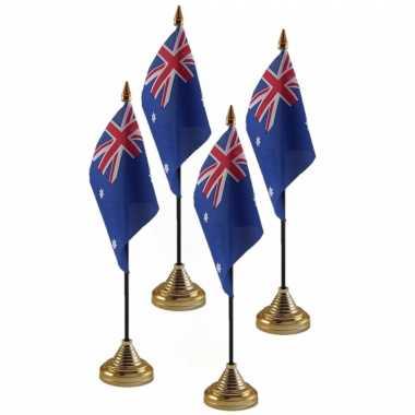 4x stuks australie tafelvlaggetje 10 x 15 cm met standaard