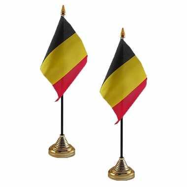 4x stuks belgie tafelvlaggetjes 10 x 15 cm met standaard
