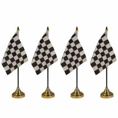 4x stuks finish tafelvlaggetjes 10 x 15 cm met standaard