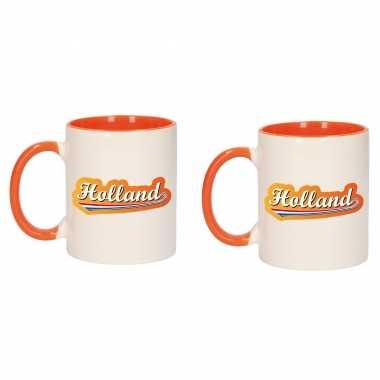 4x stuks holland met lettercontour mok/ beker oranje wit 300 ml