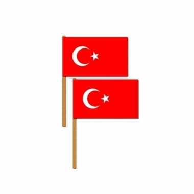 4x stuks luxe zwaaivlag turkije 30 x 45 cm