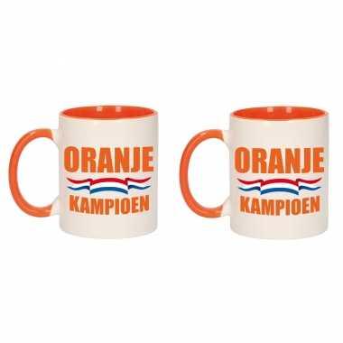 4x stuks oranje kampioen mok/ beker oranje wit 300 ml
