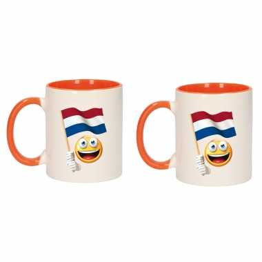 4x stuks smiley vlag nederland mok/ beker oranje wit 300 ml