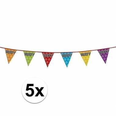 5 stuks holografische vlaggetjes party 8 meter