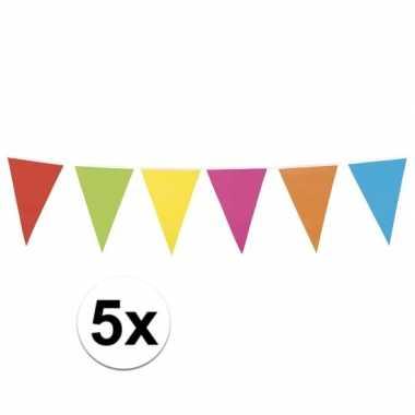 5 stuks vlaggetjes lijn in vrolijke kleuren 10 meter