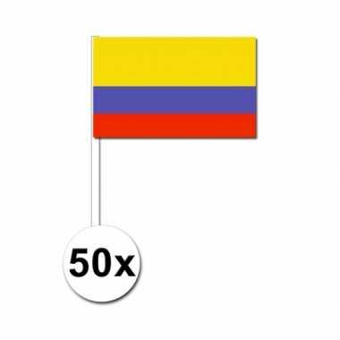 50 zwaaivlaggetjes colombiaanse vlag