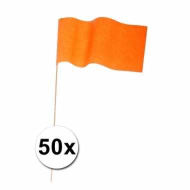 50 zwaaivlaggetjes oranje