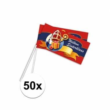 50x pakjesavond rood zwaaivlaggetjes welkom sint