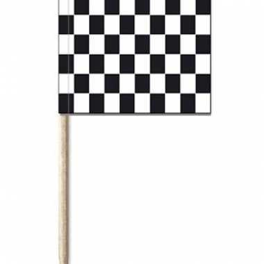50x zwart/witte finish vlag cocktailprikkertjes/kaasprikkertjes 8 cm
