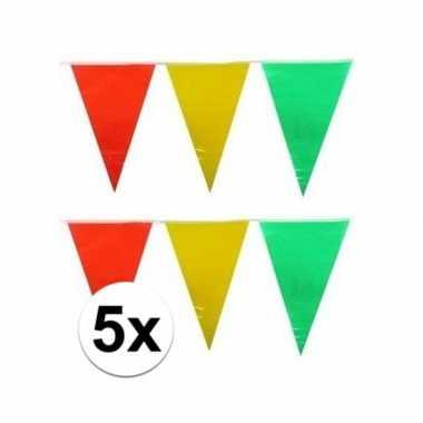 5x decoratie vlaggenlijn geel/rood/groen 10 meter