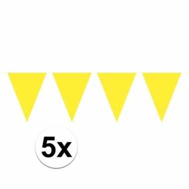 5x gele vlaggenlijnen 10 meter