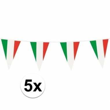 5x italiaanse plastic vlaggetjes slinger 10 meter