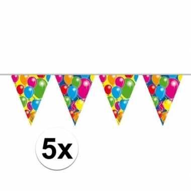 5x plastic vlaggenlijn met ballonnen 10 meter