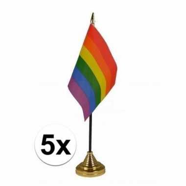 5x regenboog tafel vlaggetjes op stok 10 x 15 cm