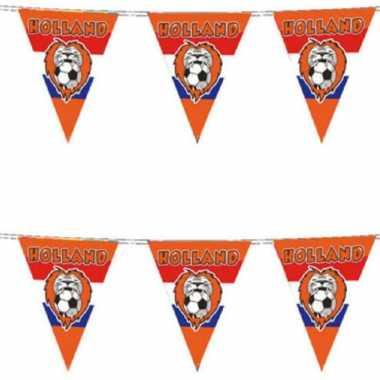5x stuks oranje vlaggenlijn voetbal leeuw 10 meter