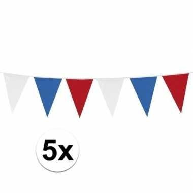 5x stuks rood wit blauwe vlaggetjes