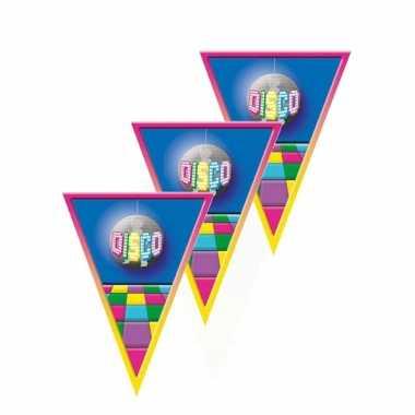 5x stuks vlaggenlijn disco versiering thema 5 meter