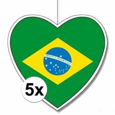 5x thema brazili? hangdecoratie hart 28 cm