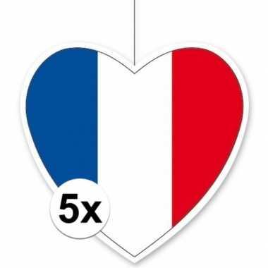 5x thema frankrijk hangdecoratie hart 28 cm