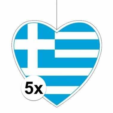 5x thema griekenland hangdecoratie hart 28 cm