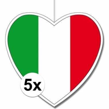 5x thema itali? hangdecoratie hart 28 cm