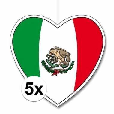 5x thema mexico hangdecoratie hart 28 cm