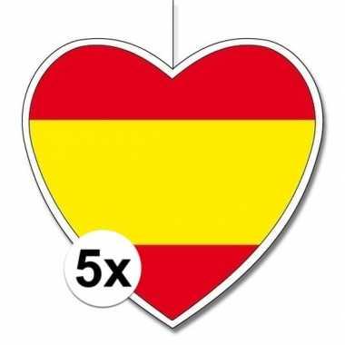 5x thema spanje hangdecoratie hart 28 cm