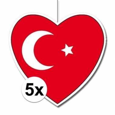 5x thema turkije hangdecoratie hart 28 cmhartvormig turkije 28 cm