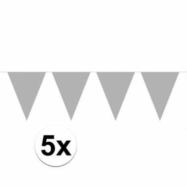 5x zilveren vlaggenlijnen 10 meter