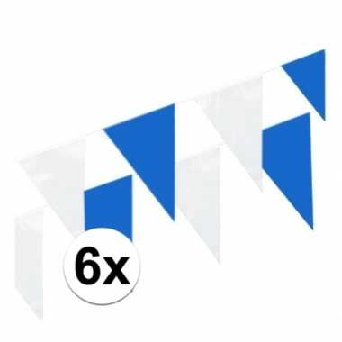 6x blauw/witte plastic slinger 10 meter