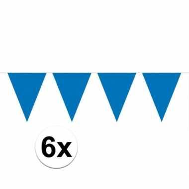 6x blauwe vlaggenlijnen 10 meter