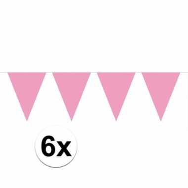 6x lichtroze vlaggenlijnen 10 meter
